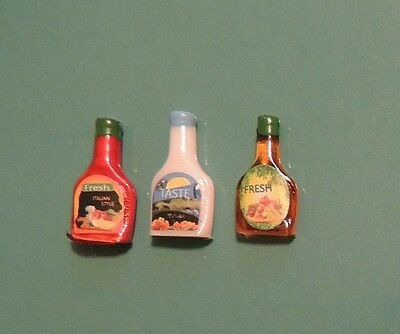 NEW MINIATURE SALAD DRESSING 3 PC by Timeless Minis DOLLHOUSE or FAIRY GARDEN