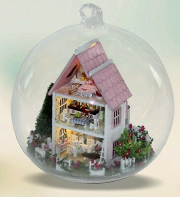 DIY Wooden Dollhouse Miniature Kit w/ LED and Voice control house pink