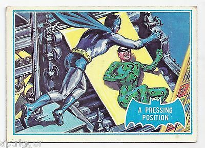 1966 Topps Batman Blue Bat with Bat Cowl Back (36B) A Pressing Position
