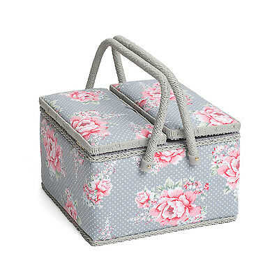 Hobby Gift MRLTLE/190   Beautiful Bloom  Large Twin Lid Sewing Box   25x25x17cm
