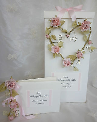 Wedding Card Post Box, Personalised Rose Heart Design Matching Guest Book