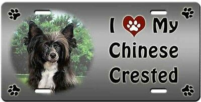 Chinese Crested - Powder Puff License Plate - Love