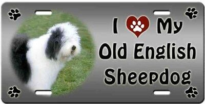 Old English Sheepdog License Plate - Love