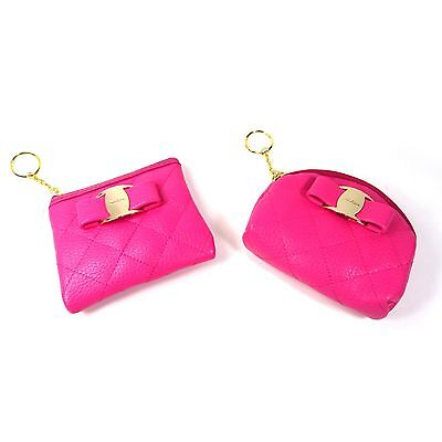 Hot Pink Faux Leather Bow Zip Key Ring Coin Purse Card Holder Wallet Case Pouch