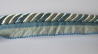 Blue and Ivory Upholstery flanged cord (sold by the mtr) 10mm wide