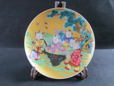 Ancient Chinese character five boys birthday porcelain plate. peach