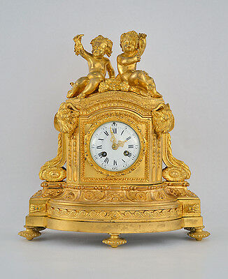 French Louis XVI Ormolu Clock Classical Gilt Gilded Figural Napoleon Putti Gold