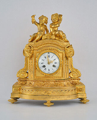 Louis XVI Ormolu Festive Clock French Antique Gilt Gilded Figural Napoleon Putti