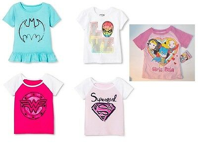 Wonder Woman Supergirl Spiderman Batman Toddler Girls T-Shirts Various Sizes NWT
