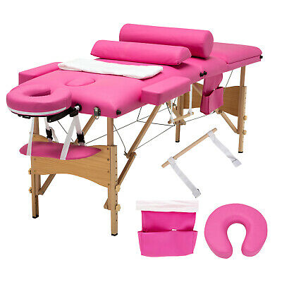 "3 Fold Portable 84""L Massage Table Facial SPA Bed 2 Pillows+Cradle+Sheet&Hanger"