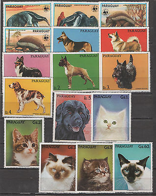 Paraguay stamps - 3 complete sets - fauna dogs cats 0506