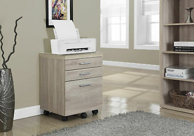 Monarch Natural Reclaimed-Look 3 Drawer File Cabinet On Castors I-7050