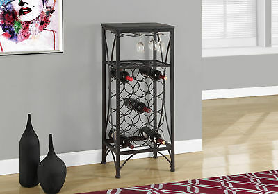 Monarch Home Bar - 40 Inch H / Black Metal Wine Bottle And Glass Rack I-3347