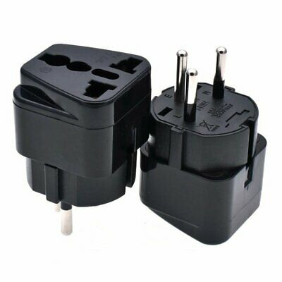 2 x ISRAEL Travel Plug Adapter Universal Outlet Accept World Plug Black