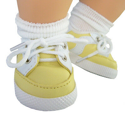 """For Bitty Baby Doll Clothes Gym Tennis Shoes Yellow Sneakers 2 5/8 x 1 1/2"""""""