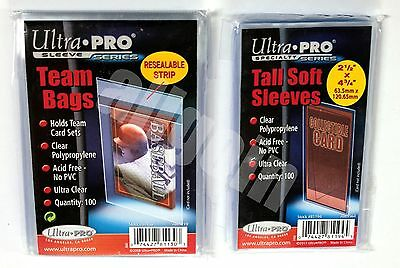 Ultra Pro 100 CLEAR CARD SLEEVES BUSTINE TRASPARENTI RICHIUDIBILI TEAM/TALL BAGS
