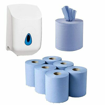 6 x Blue Centre feed 2 ply Paper Towel & Wall dispenser FREE NEXT DAY DELIVERY