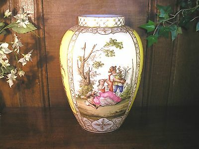 STUNNING Dresden YELLOW GROUND hand painted FLORAL/FRAGONARD large VASE - 27cms
