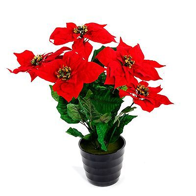 Realistic Artificial Flowers Foliage 45cm Poinsettia Plant Tree for Home Office