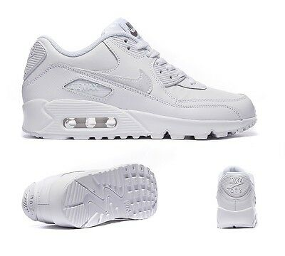 reputable site 4f523 5c23b Nike Air Max 90 GS White Leather JUNIOR Boys Girls Unisex Trainers UK Sizes  3-