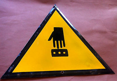 Vintage Tin Porcelain Enamel Sign Warning Watch Your Fingers Industrial 1960's