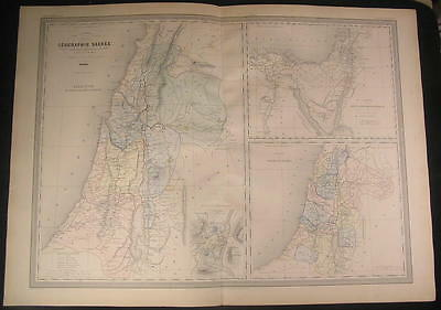 Holy Land Tribes of Israel Sinai 1860 Dufour old vintage antique engraved map