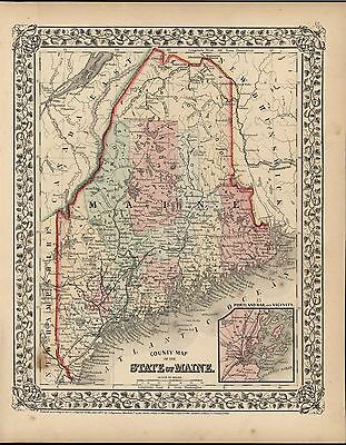 State of Maine 1867 Mitchell antique lithograph hand color map