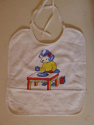 vintage retro true 50s baby bib girl playing unused NOS