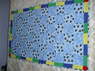Baby Boys Quilt-Train lovers-One of a Kind :Homemade