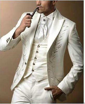New Fashion Groom Tuxedos Ivory Suit with Sliver Embroidery  Bridegroom Tuxedos