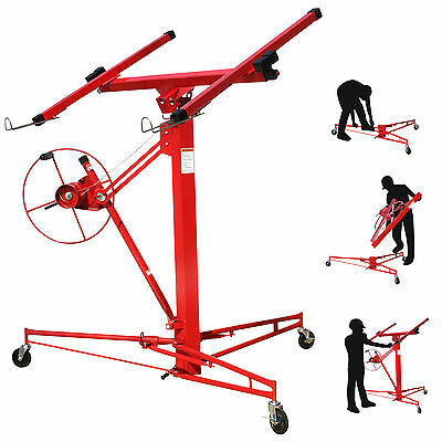 11' Construction Lockable Tool Drywall Rolling Lifter Panel Hoist Jack Caster