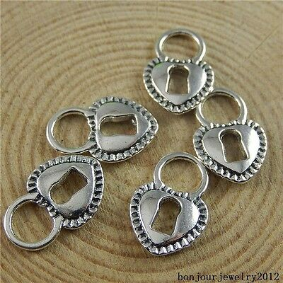 50846 Vintage Silver Alloy Heart Shape Lock Pendants Finding Charms Crafts 50pcs