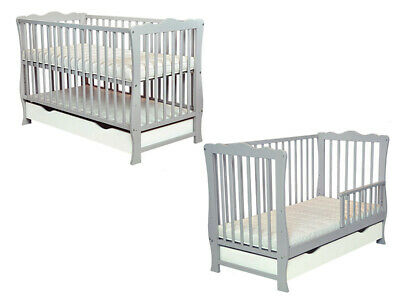 Baby Cot Bed Converts to Junior Toddler Drawer + mattress 2 colors