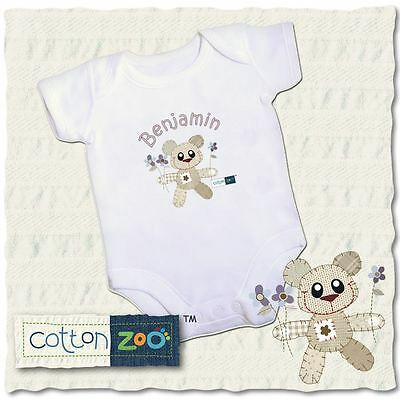 Cotton Zoo Boys Babys White Vest 0-3 Months Old Baby Gift Tweed the Bear