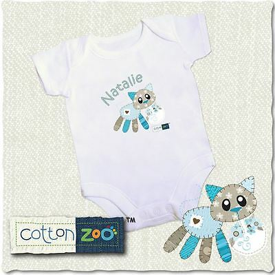 Cotton Zoo Babys White Vest 0-3 Months Old Baby Gift Calico the Kitten