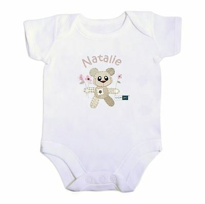 Cotton Zoo Girls Babys White Vest 0-3 Months Old Baby Gift Tweed the Bear