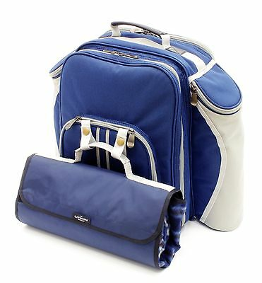 Greenfield Collection Deluxe Two Person Picnic Backpack Hamper with Matching ...