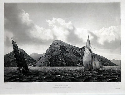 ILE DU TIGRE - Bocca Tigris China grosse Ansicht Aquatinta um 1830 - Original
