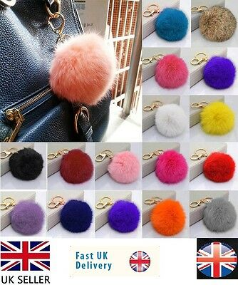 Soft Fluffy Real Rabbit Fur Ball Pendant Bag Charm Pompom Key Chain Phone uk