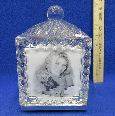 Fifth Avenue Crystal Glass Revolving Photo Cube Picture Faceted