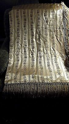 Antique Silk trow, extral long fringe 100% Silk, 19th Century