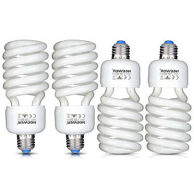 Neewer 4 Pack 35W 5500K Tri-phosphor Spiral CFL Daylight Balanced Light Bulb