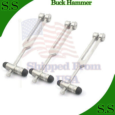 5 In 1 Tuning fork with Buck Hammer Diagnostic Set EMT Surgical EMS Supply 3 PCS