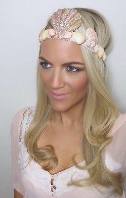 Nude Peach Gold Sea Shell Diamond Crown Hair Head Band Choochie Choo Hippy Boho