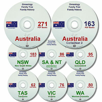 Family History Tree Genealogy Australia Old Historic Books States NEW 8 DVDs