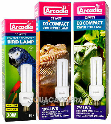 Arcadia Compact D3 Reptile Bird Light E27 Bulb Vivarium Cage Lamp Lighting Tube