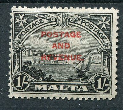 Malta KGV 1928 1s black ovpt SG186 mounted mint