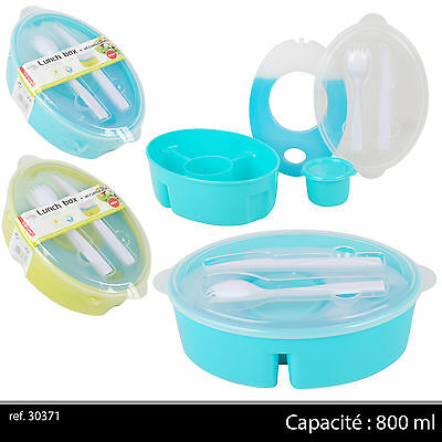 LUNCH BOX ISOTHERME 800ml, BOITE PLASTIQUE + COUVERTS + BAC FROID SALADE SAUCE