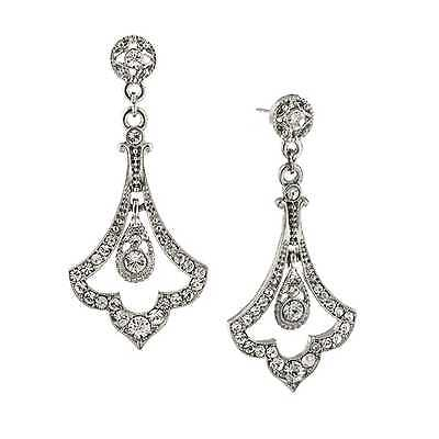 Downton Abbey Crystal Pave Silver-Toned Fleur Drop Earrings 17526 NEW