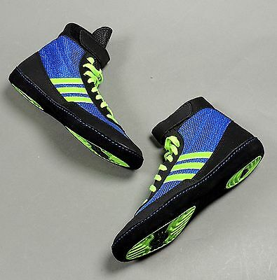 NEW Adidas Combat Speed 4 Wrestling Shoes M18783 Blue/Lime/Black Retail $82